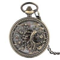 Vintage Automatic Mechanical Fob Chain Pocket Watch Men Exquisite Hollow Phoenix Pendant Clock Steampunk Half Hunter