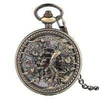 Vintage Automatic Mechanical Fob Chain Pocket Watch Men Exquisite Hollow Phoenix Pendant Clock Steampunk Half Hunter Pocketwatch