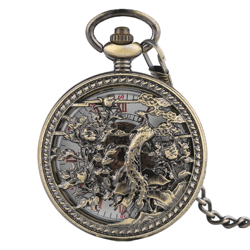 Vintage Automatic Mechanical Fob Chain Pocket Watch Men Exquisite Hollow Phoenix Pendant Clock Steampunk Half Hunter Pocketwatch
