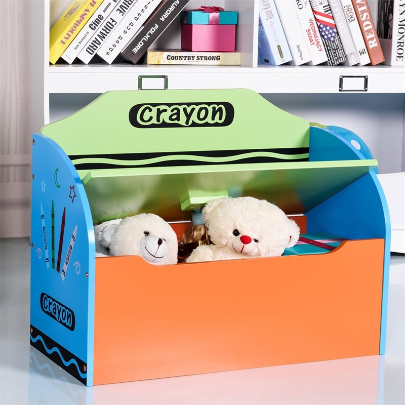 Crayon Wood Toy Storage Box and Bench for Toddler Children Durable Premium MDF Fun and Colorful Crayon Themed Design HW58674