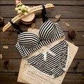 High quality women push up bra sets Lovely cotton Thin bow Striped flower heart bra set underwear lingerie sets bra + panties