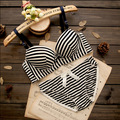 Mulheres empurrar para cima conjuntos de sutiã de alta qualidade Adorável algodão Fino arco listrado flor do coração conjunto de sutiã roupa interior lingerie conjuntos de sutiã + calcinha