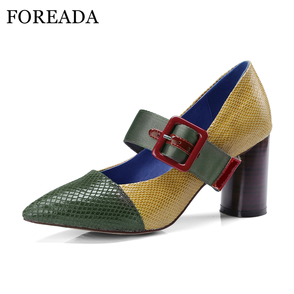 FOREADA Genuine Leather Shoes 2018 Women Mary Jane Shoes Pumps Chunk High Heels Horsehair Buckle Strap Party Shoes Pointed Toe цена