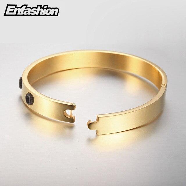 Enfashion Black Screw Cuff Bracelet Manchette Gold color Vintage Bangle Bracelet For Women Bracelets Bangles Pulseiras B8774