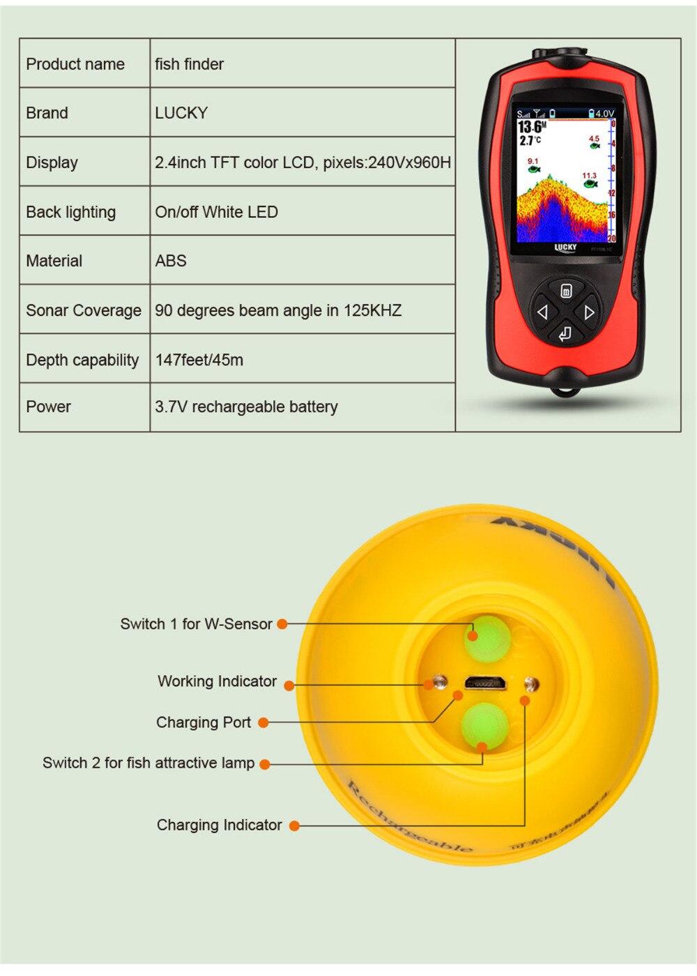 2019 nouveau FF1108-1CWLA chanceux sans fil Sonar détecteur de poisson transducteur glace/océan/bateau détecteur de poisson alarme détecteur de poisson Sonar capteur poisson - 3