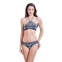 New Designer 2018 Sexy High Neck Bikini Swimwear Women Swimsuit Brazilian Bikini Set Print Halter Top