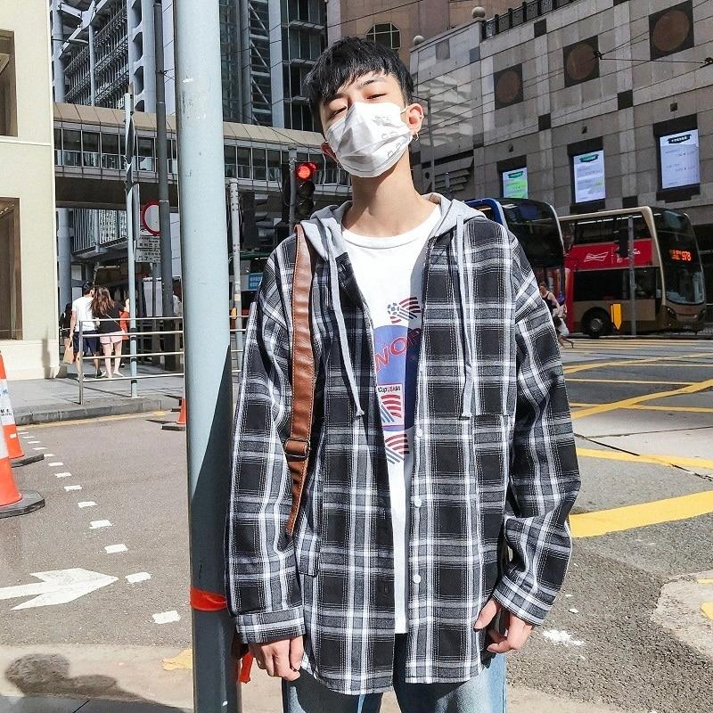 2018 Autumn New Korean Men S Fashion Casual Loose Lattice Printing