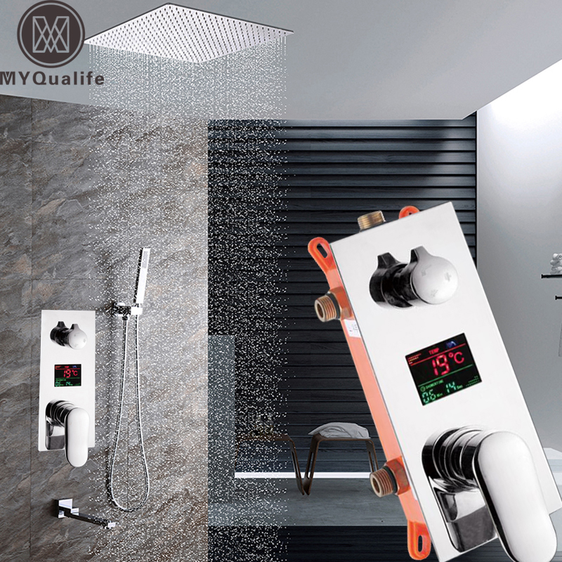 New Digital Temperature Display Shower Faucet Ceiling Mounted Chrome Concealed Shower Mixers Hot and Cold with Handshower Taps
