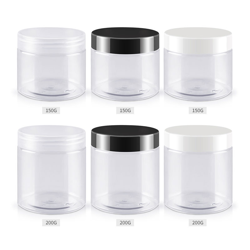 150g 200g X 40 Transparent Empty Cosmetic Cream Bottles Clear PET Jar Container For Cosmetics Packaging