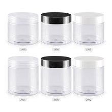 150g 200g 250g X 40 Şeffaf Boş Kozmetik Krem Şişeleri Temizle PET Kavanoz Konteyner Kozmetik Ambalaj, cilt Bakımı Potlari Tin