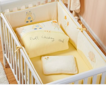 Promotion! 7PCS embroidery New Cotton Unisex Baby Cot Bedding Set for Cartoon Crib Bedding ,include(2bumper+duvet+sheet+pillow)
