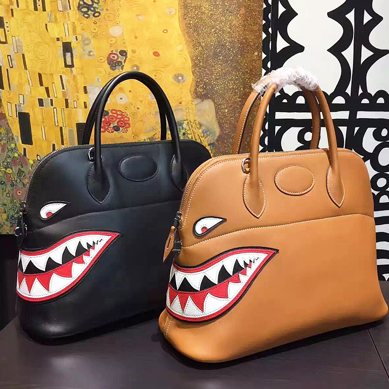 MSCMRF Genuine Leather cluch bags shark printing women messenger bags Large size 37CM