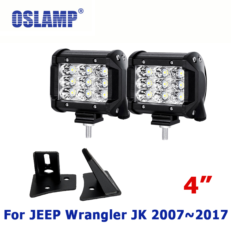 Oslamp 36W 4inch Flood / Spot LED Work Lights with A-pillar Mounting Bracket for JEEP Wrangler JK 2007~2017 Triple Row CREE Chip oslamp triple row 6000k cree chips