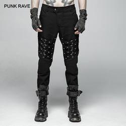 Панк рейв для мужчин's панк хеви-метал Совет Rive черный мотобрюки Готический выступление личности брюки Харадзюку мужчин Уличная