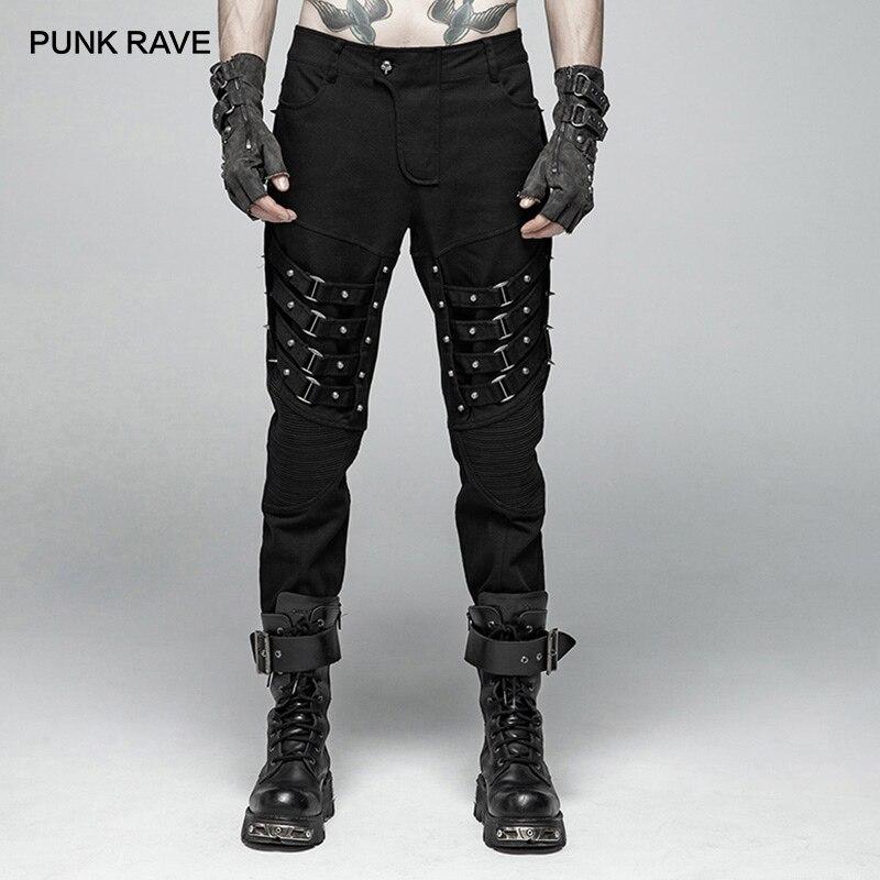 Dos homens DO PUNK DELÍRIO Do Punk Heavy Metal Ponta Rive Calças Pretas Desempenho Gótico Personalidade Harajuku Calças Dos Homens Streetwear