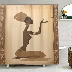Image 1 - Ekologiczne afrykańskie kobiety zasłony prysznicowe wodoodporna kurtyna kąpielowa z tkaniny poliestrowej do łazienki z 12 hakami Home Decor