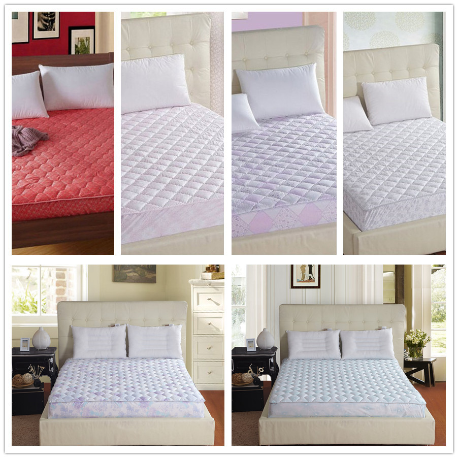 Bed Protection Pad Quilted Mattress Protector Hotel Cover Cotton Twin Queen King Size Bright Colored Diamond Quilting