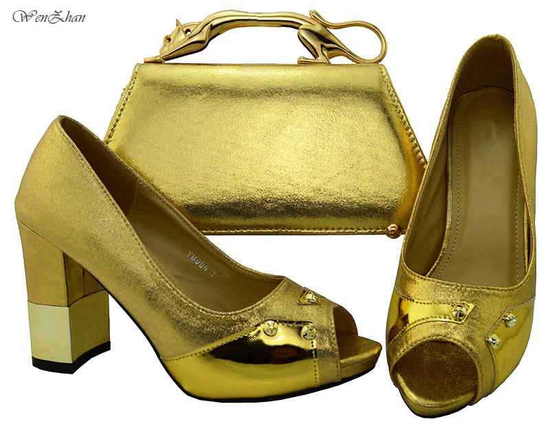 WENZHAN Gold Italian High Heel Shoes and Bags To Match,Luxuious Shoes with Bag Set Comfo ...