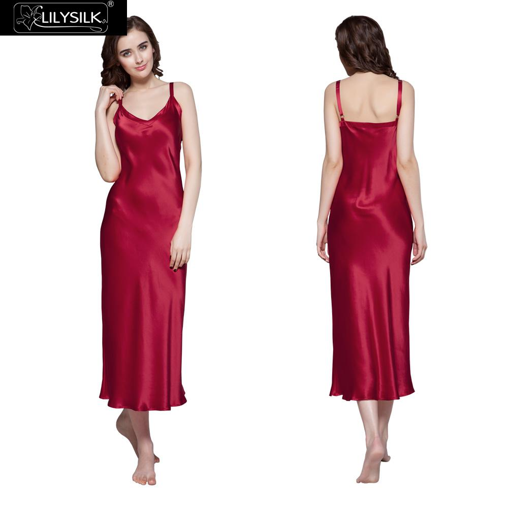 Lilysilk Women Silk Nightgown Nightdress Wedding 22 Momme Luxury Maxi Long  Claret Lingerie Dress Sexy Sleepwear Nighties Camison-in Nightgowns    Sleepshirts ... 02ef24387