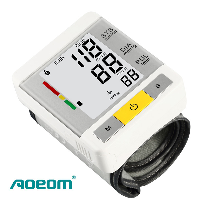 AOEOM Household Health Monitor , Portable Digital Wrist Blood Pressure Pulse Monitor Sphygmomanometer tonometer For Health Care custom 3d stereo wallpaper murals window outside european scenery living room tv wall decoration painting papel de parede 3d