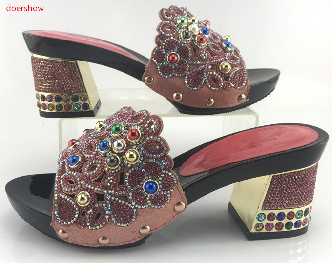 doershow High Pumps Shoes To Match Wedding Italian African Shoes Without Bag Possible Matching Shoes and Bag Set coral SMB1-14 doershow shoes african women shoes and bag set with rhinestones italian shoes with matching bags high quality pumps shoes hyx1 9
