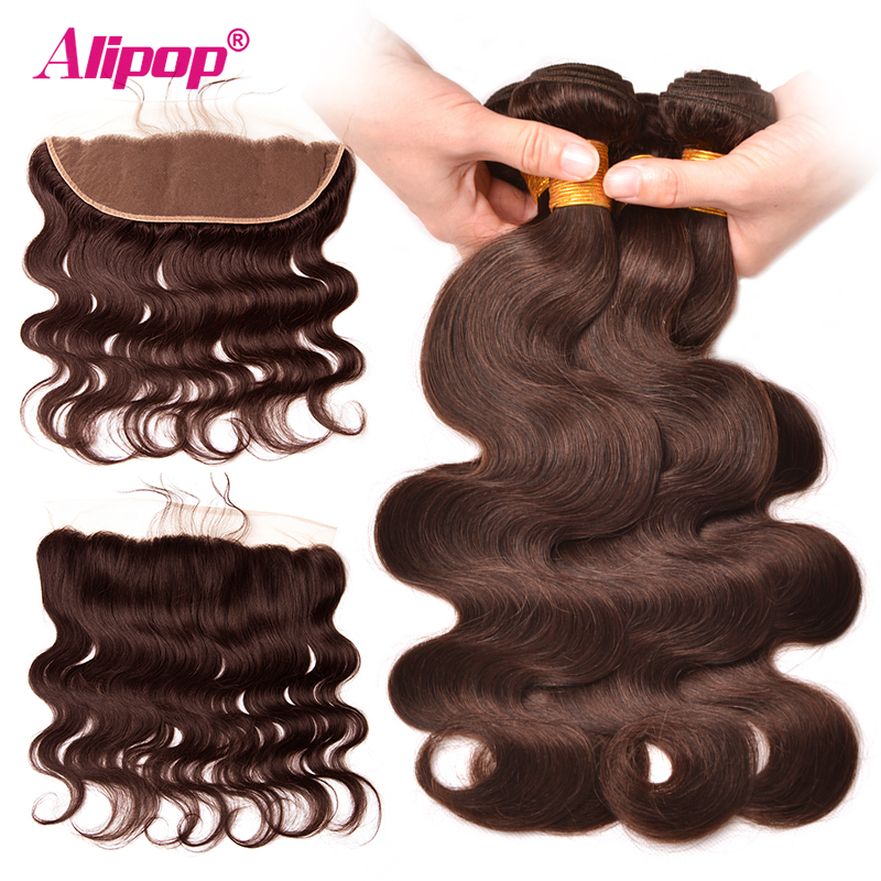 #2 Dark Brown Color Peruvian Hair Bundles With Frontal Closure 4*13 Lace Frontal 100% Human Hair Bundles Alipop NonRemy 4PCS ...