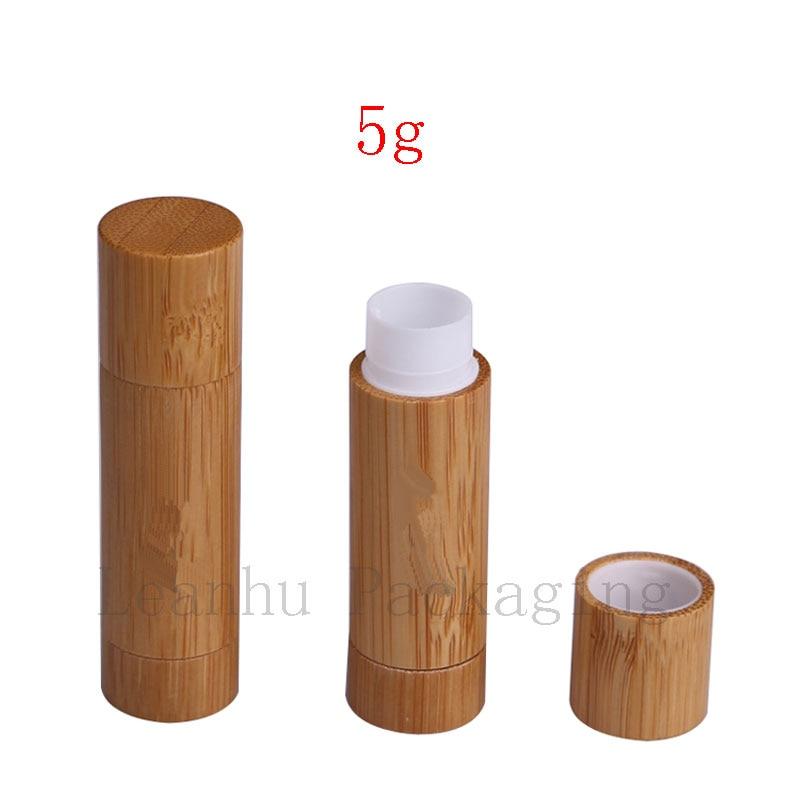 5g bamboo white plastic lip gloss tube (1)