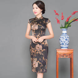 Новые летние черные женские Тонкий Cheongsam воротник-стойка Короткие Цветочные элегантный китайское платье пикантные Qipao Vestidos негабаритных