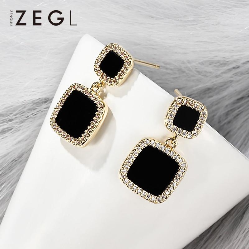 ZEGL Metal Earrings Square Black Earrings Pendant Clip Earrings Small Earrings in Drop Earrings from Jewelry Accessories