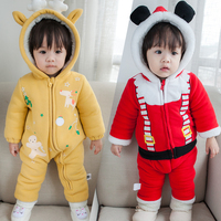 Christmas Dear Party Baby Boys Rompers Winter Warm Cotton Padded Jacket For Girls Cute Fur Velvet