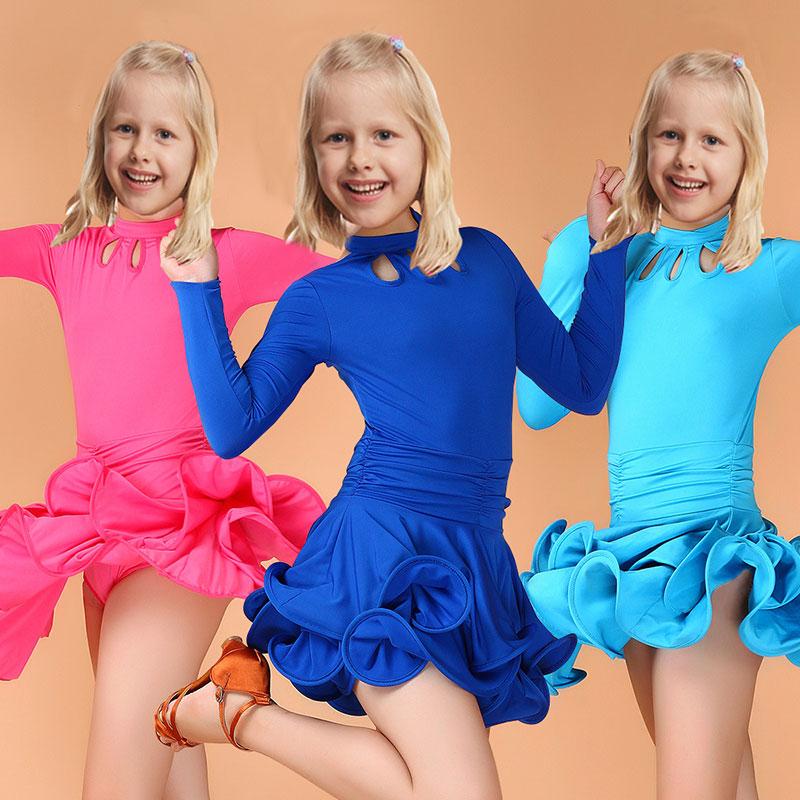 Skolbarn Barn Barn Tjej Latinskläder Danskläder Prestanda Tävling Dancing Dansdräkt Latin Dance Dress For Girls