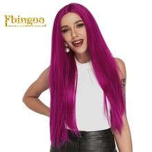 Ebingoo Long Straight Purple Full Hair Wigs Synthetic Lace Front Wig For Women Heat Resistant Pruiken Futura Fiber Hair Wigs недорого