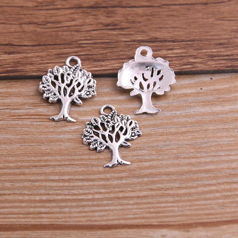 30PCS 16*21mm Plant Charms Tree Pendant Two Color DIY Retro Jewelry Bracelet Necklace Charms Pendant 6
