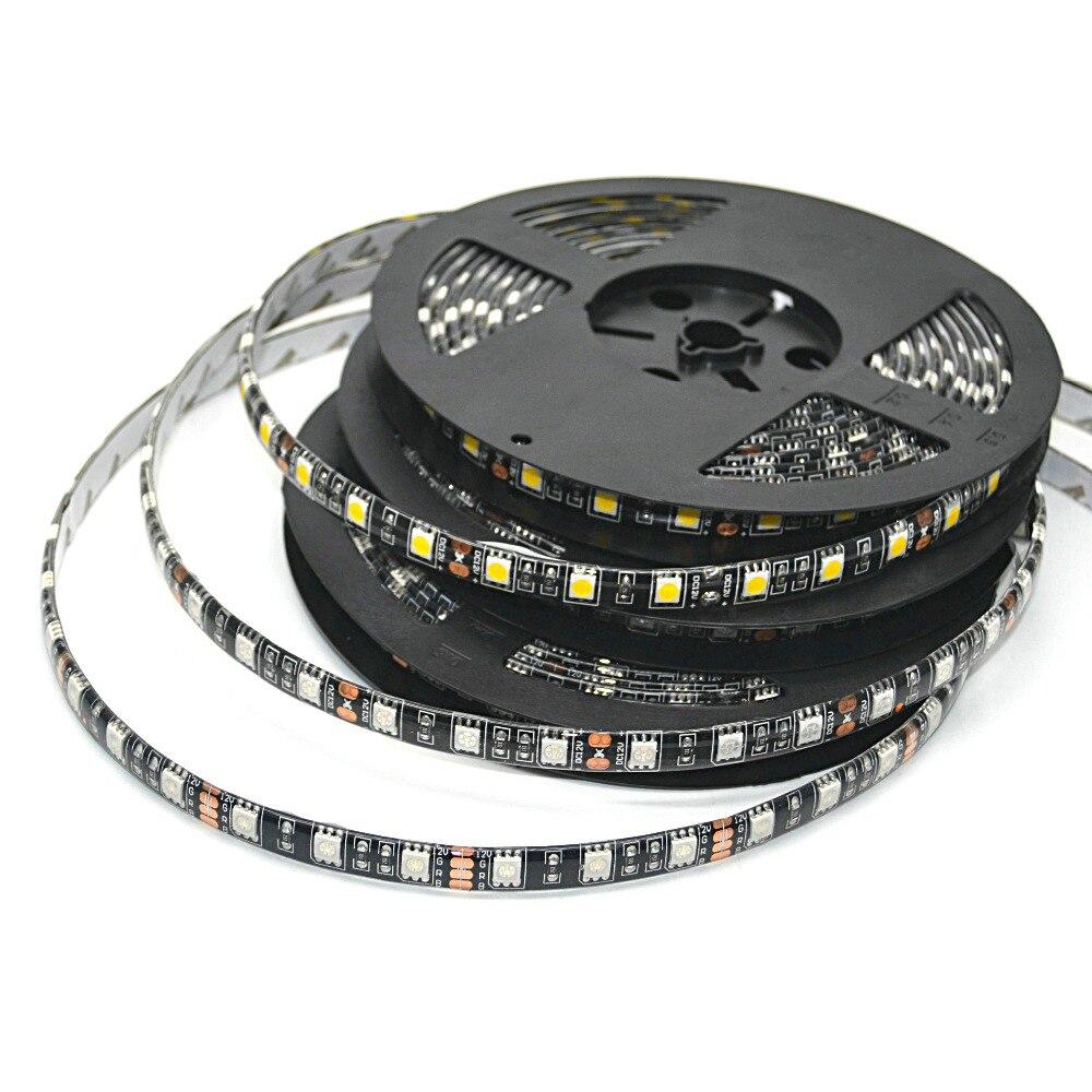 Led Streifen 5050 Rgb Schwarz Pcb 12 V Flexible Led-licht 60 Led/m5050 Rgb/weiß/warm Weiß/blau/grün/rot 1 M/2 M/3 M/4 M/5 M Für Wahl Led-streifen Led-beleuchtung