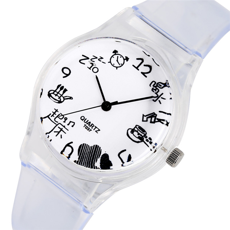 Simple Quartz Watch Movement For Kids Cartoon Pencil Pattern Silicone Band Watches For Children Classic Small Dial Wristwatch
