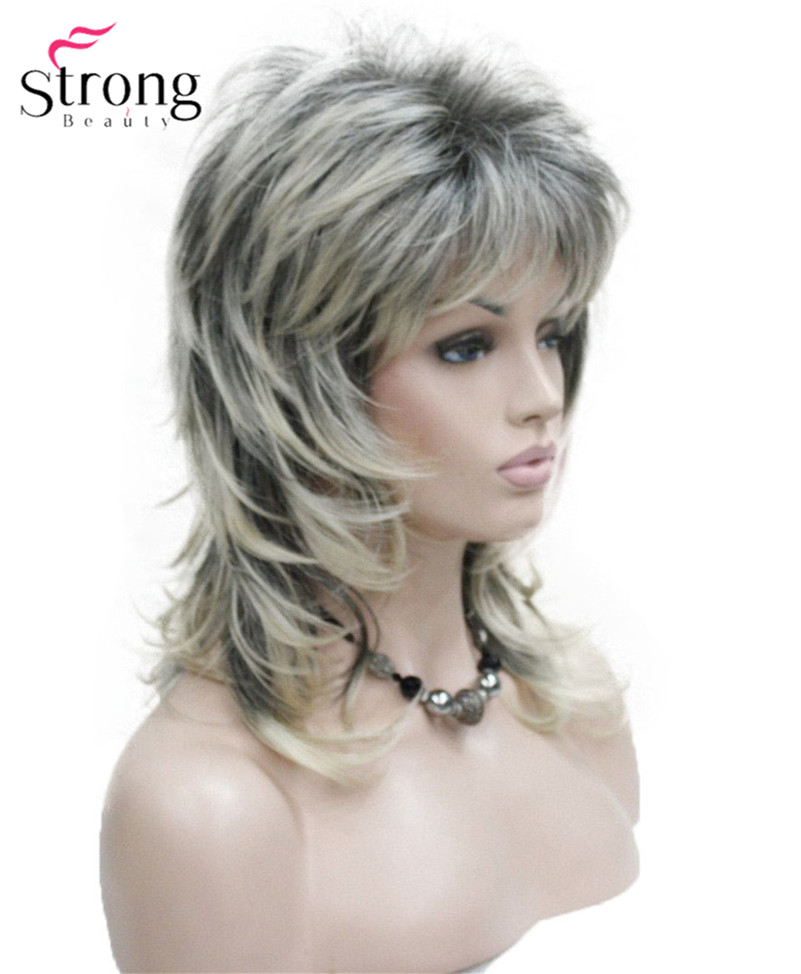 StrongBeauty Women's Shoulder Length Layered Synthetic Hair Wig Blonde With Dark Roots Ombre Hair Wigs