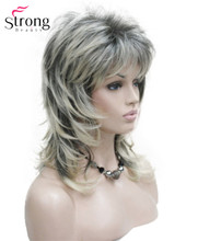 StrongBeauty Womens Shoulder Length Layered Synthetic Hair Wig Blonde with Dark Roots Ombre Hair Wigs