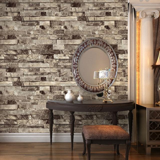 HaokHome PVC Vinyl Modern Faux Brick Stone Textured Wallpaper Grey Multi 3D  Living Room Bedroom Bathroom