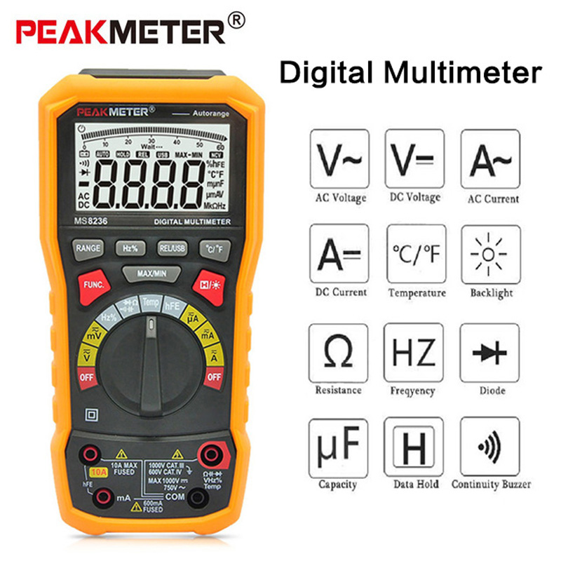 PEAKMETER PM8236 Digital Multimeter Tester AC/DC voltage Multimeter Temperature Capacitance Frequency Multi Meter Tester auto digital multimeter 6000counts backlight ac dc ammeter voltmeter transform ohm frequency capacitance temperature meter xj23