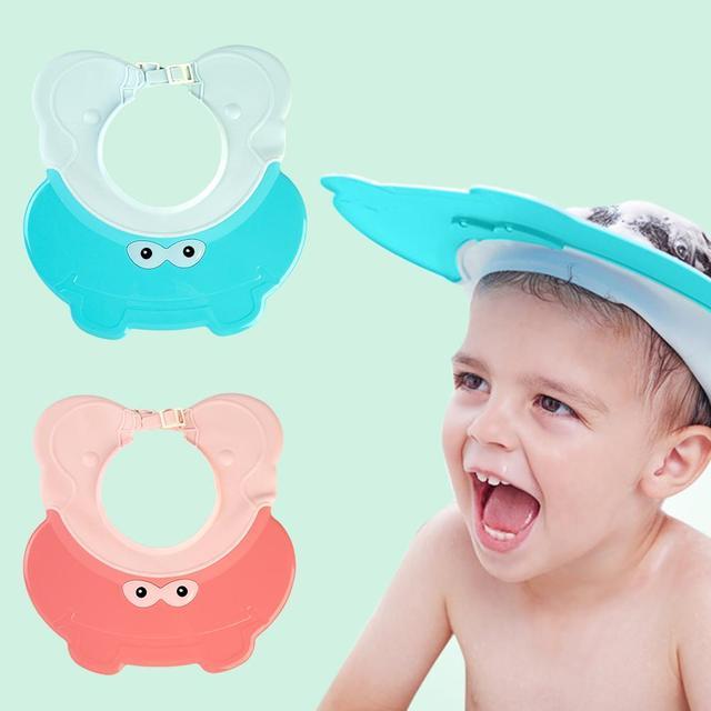 5826c7e35ec Baby Head Washing Cap Adjustable Cartoon Kids Shower Cap Waterproof Ear Bath  Cap Children Adjustable Hat
