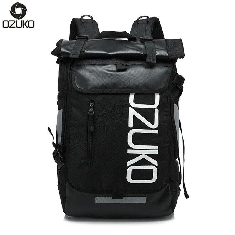 OZUKO Brand Men Unisex Men's Travel Bag Multifunction Rucksack Waterproof Oxford school Laptop Backpack mochila masculina