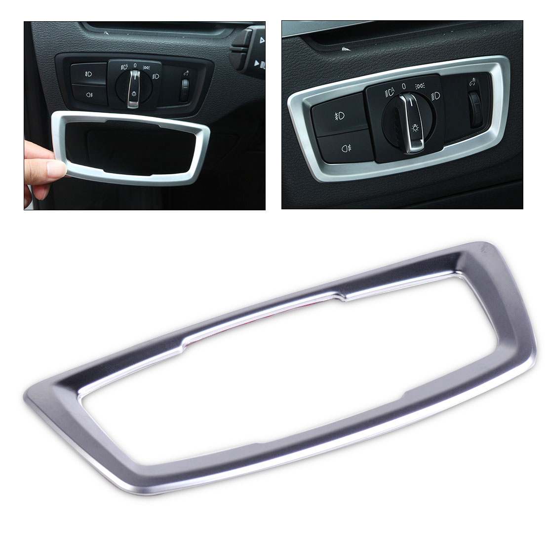 Beler 1Pc  Silver Interior Head Light Switch Button Cover Trim Frame Decoration For BMW X1 F48 2016 2017 Accessories Trims