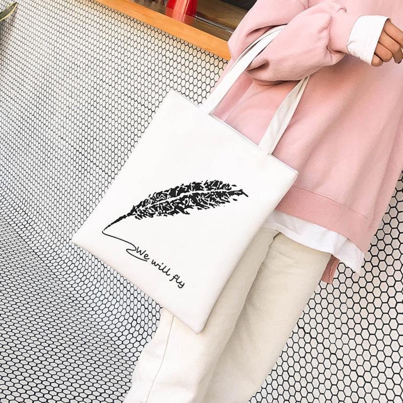 Cartoon Letter Printed Beach Zipper Bag Bolsa Feminina Canvas Tote Shopping Handbags Sac A Main Femme De Marque