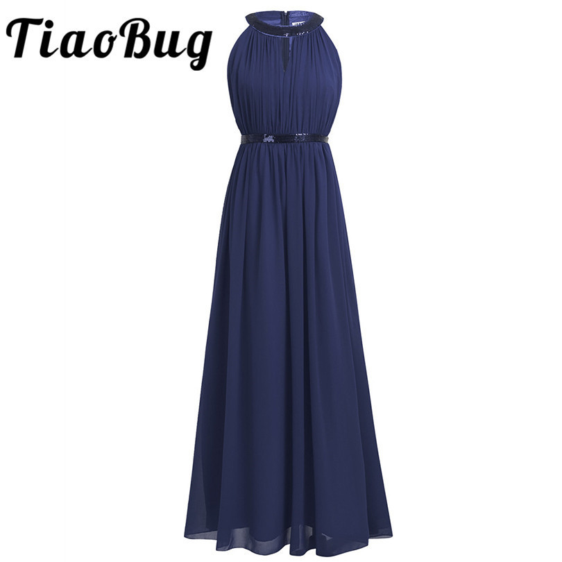 New Arrival Fashion 4 Colors Long Design Dark Navy Party Lace and Chiffon vestidos de festa Plus Size Halter Bridesmaid Dresses