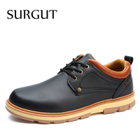 SURGUT New Spring And Autumn Casual Fashion Safety Men Shoes Oxfords Breathable Flat Footwear Pu Leather