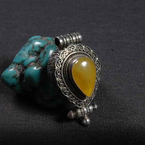 手作りネパール 925 シルバー Gau ペンダントネックレス天然ミラ仏教祈りボックスペンダント Ghau ペンダントネックレス