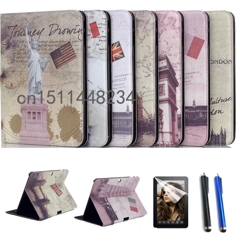 HOT luxury Cover For Samsung Tab4 10.1 PU Leather Smart Stand Tablet Case for Samsung Galaxy Tab 4 T530 T531 T535+Stylus+pen