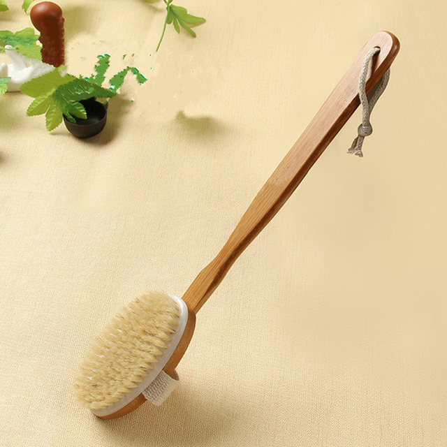 2 In 1 Removable long-handled wooden natural bristle brush bath brush massager Baby bath Shower bathroom accessories 2
