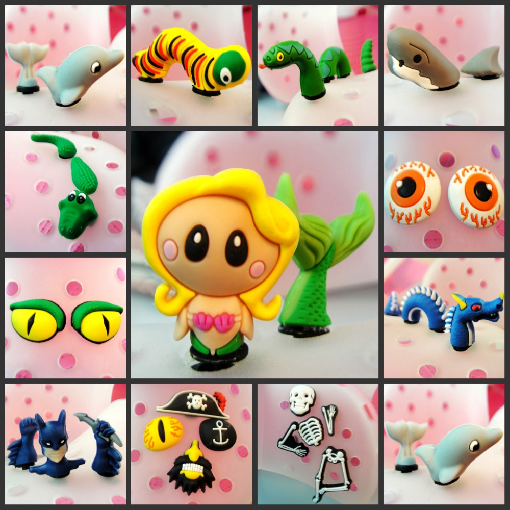 2-5pcs/set Lovely Mermaid 3D PVC Shoe Charms Sea Animals Cool Dragon Snake Shoe Accessories Buckles Croc Decor JIBZ Kids Gift
