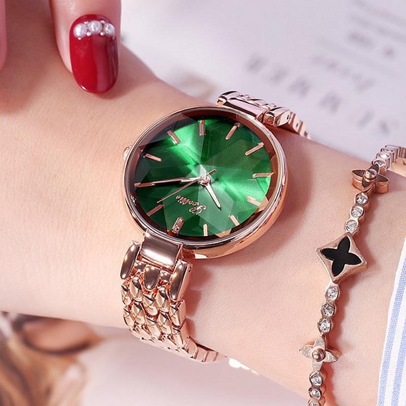 Relojes con esfera de diamante de lujo para mujer, elegantes relojes casuales de cuarzo para mujer, relojes de vestir de acero inoxidable, relojes para mujer, regalos